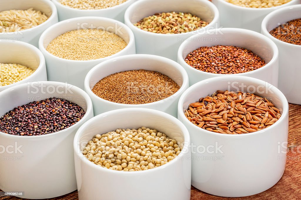 healthy, gluten free grains abstract stock photo