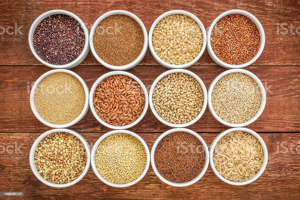 healthy, gluten free grains collection stock photo