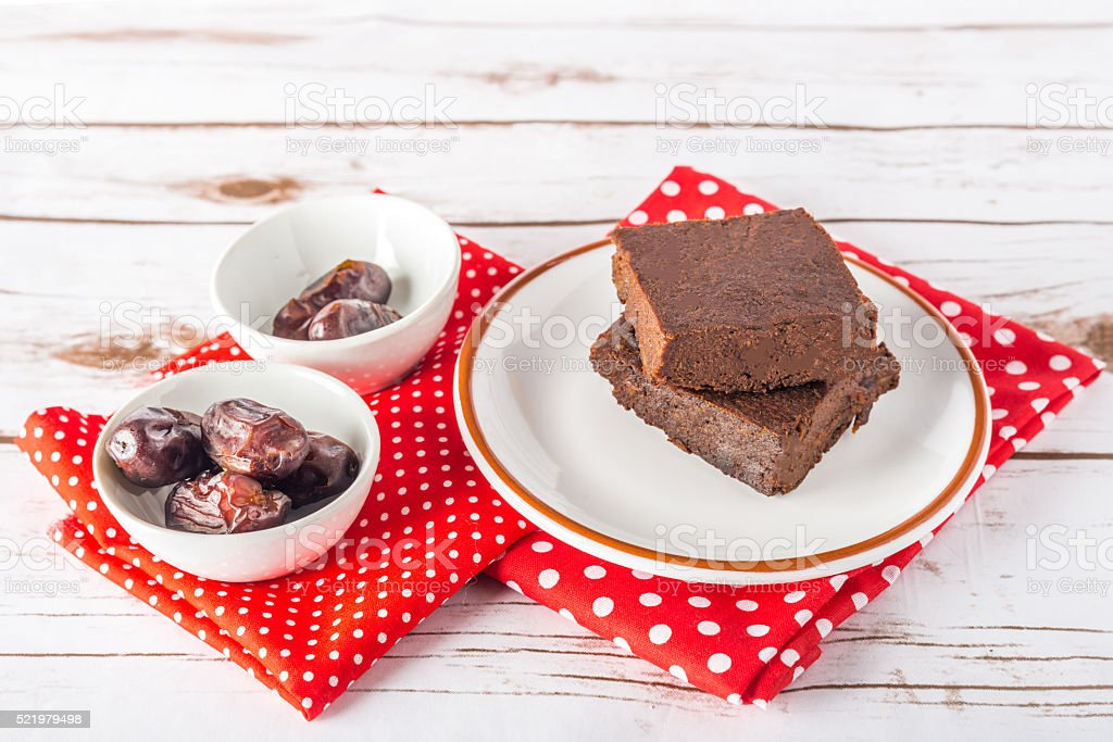 Healthy gluten free Paleo style brownies made with sweet potato stock photo