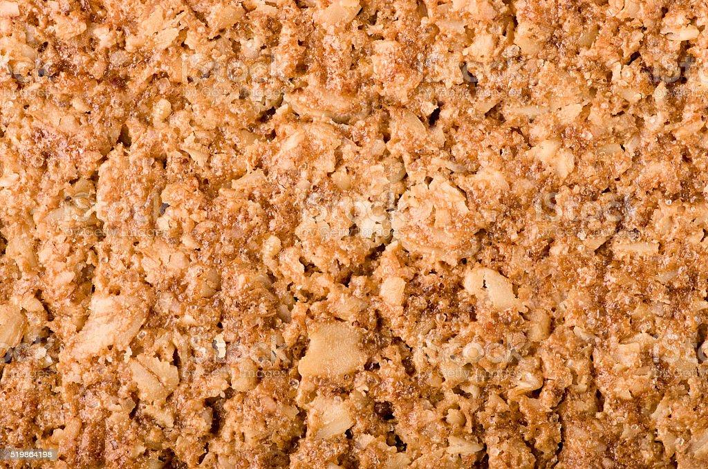 Healthy Granola bar background. Wholegrain oats, copy space. stock photo