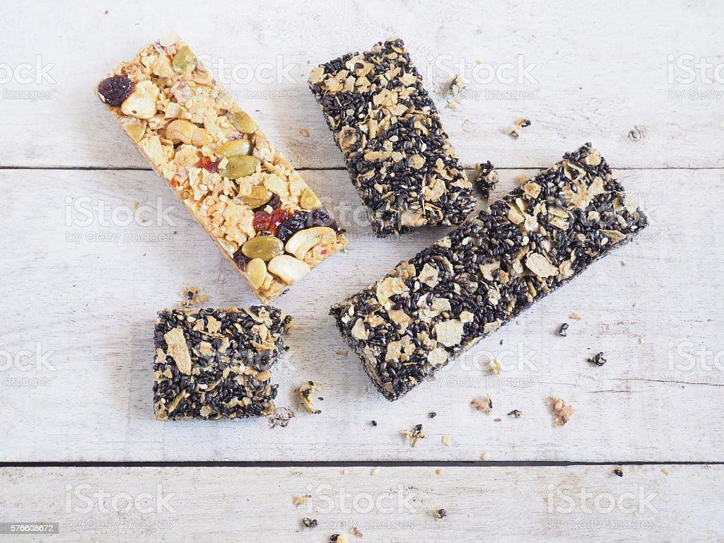 Healthy granola bar stock photo