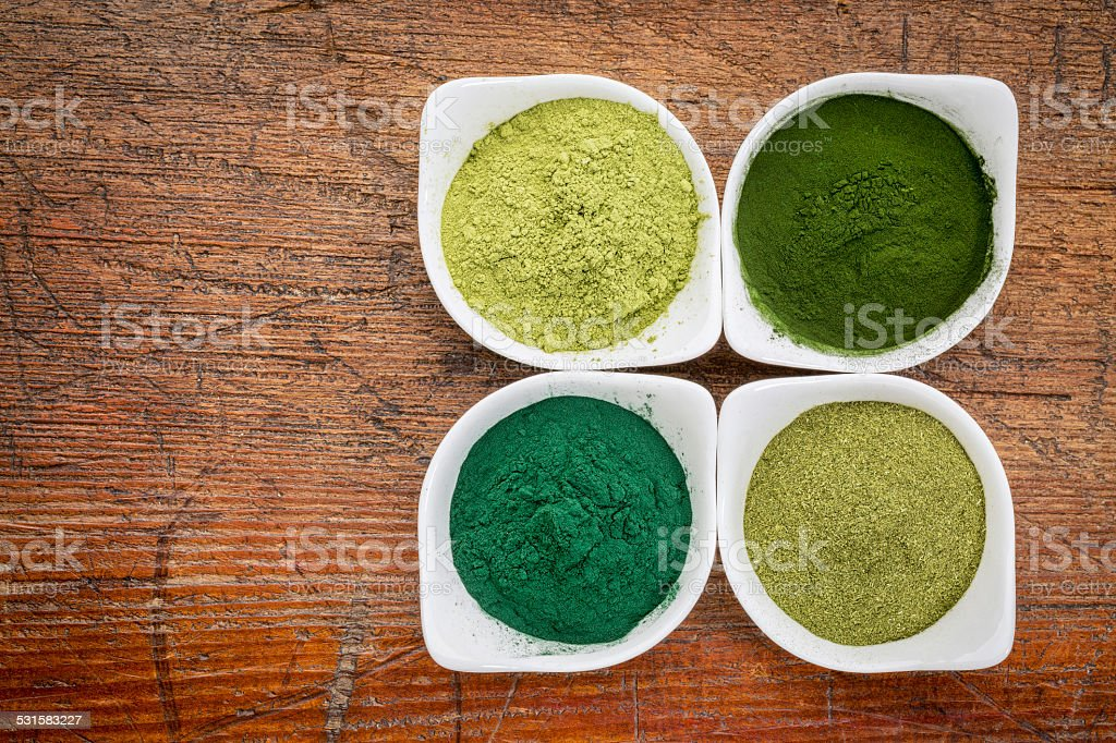 healthy green dietary supplements stock photo