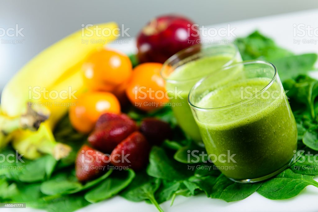 Healthy Green Drink with Fruit stock photo