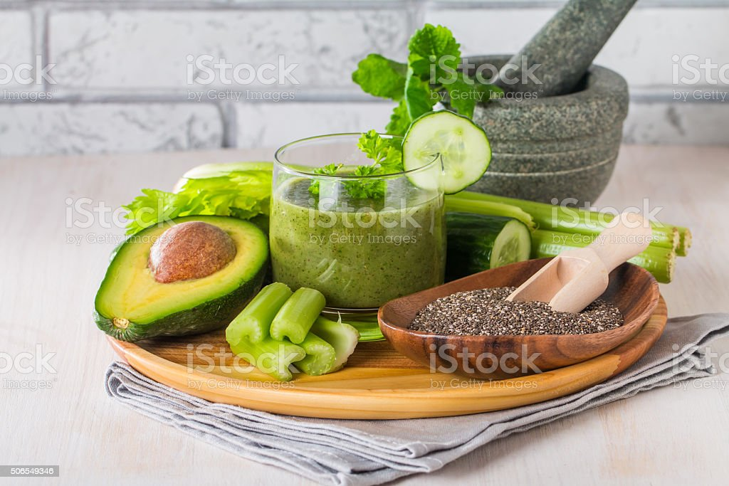 Healthy green juice smoothie stock photo