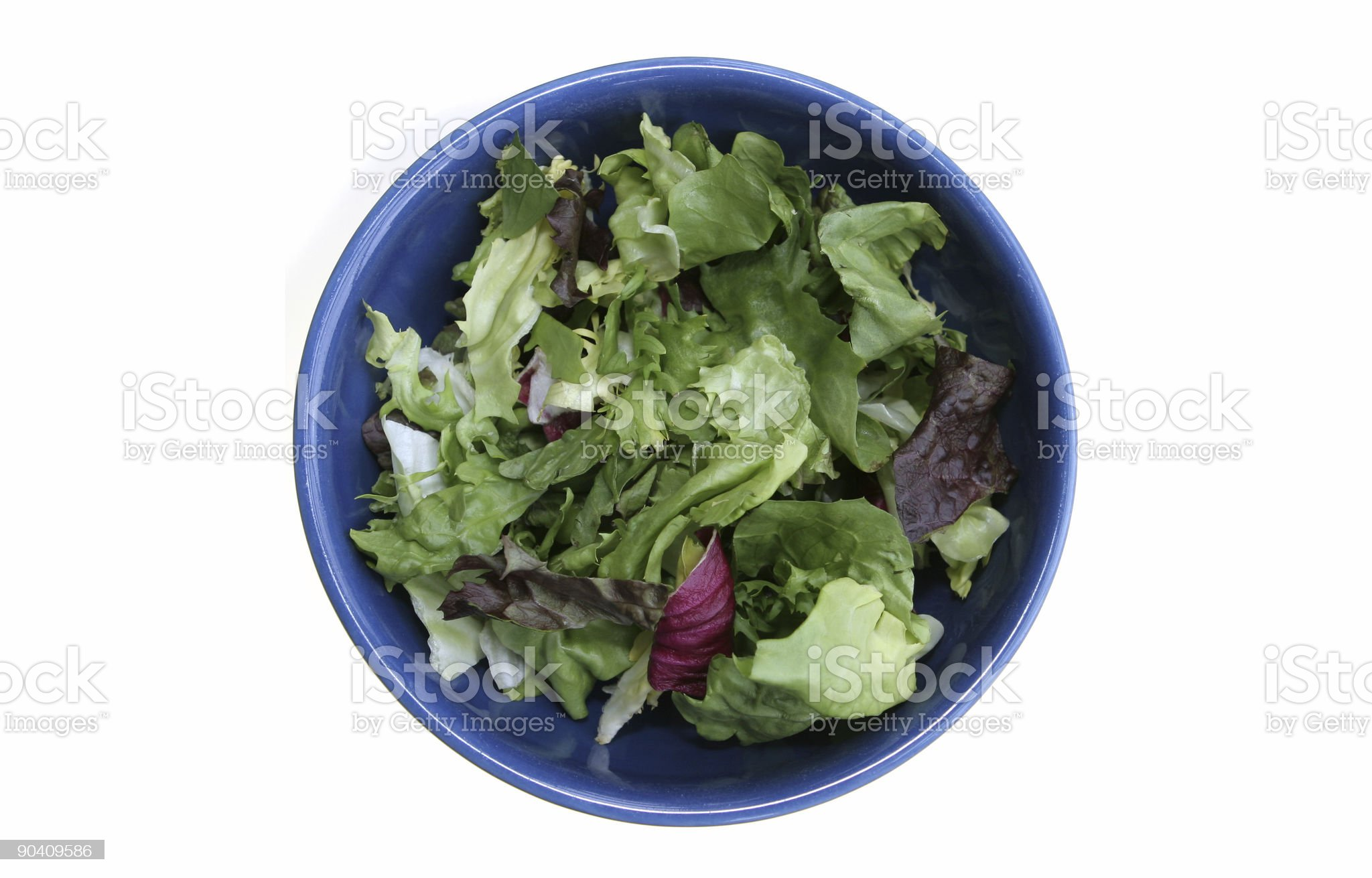 Healthy Green Salad in a Blue Bowl royalty-free stock photo