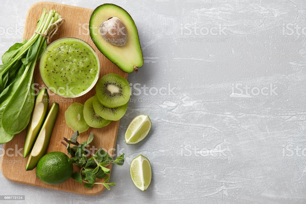 Healthy green smoothie ingredients stock photo