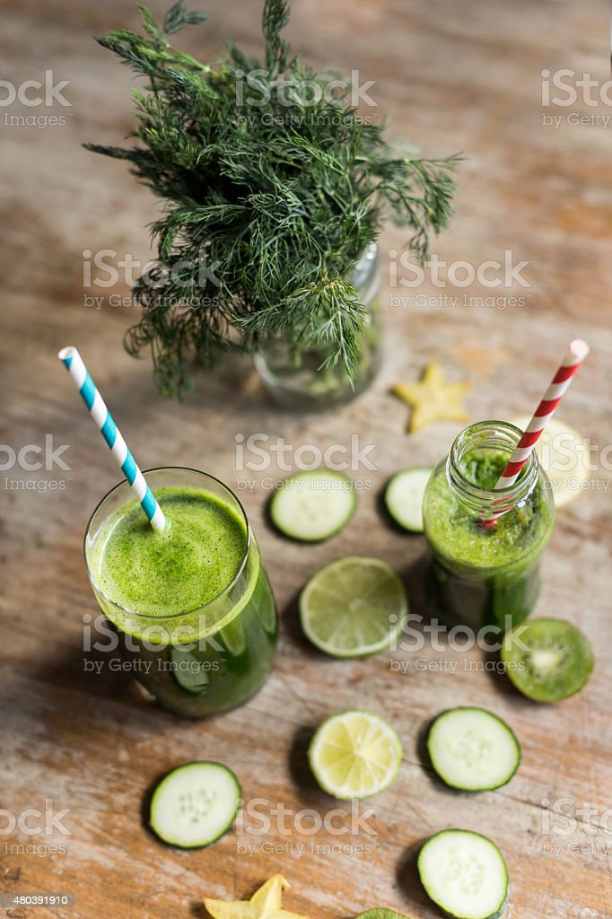Healthy green smoothie. stock photo