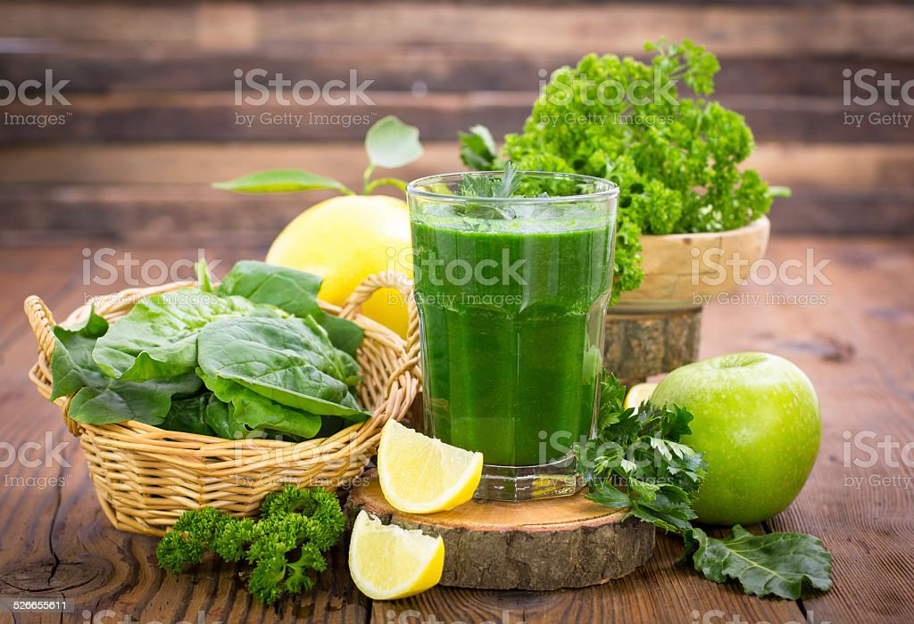 Healthy green smoothie stock photo