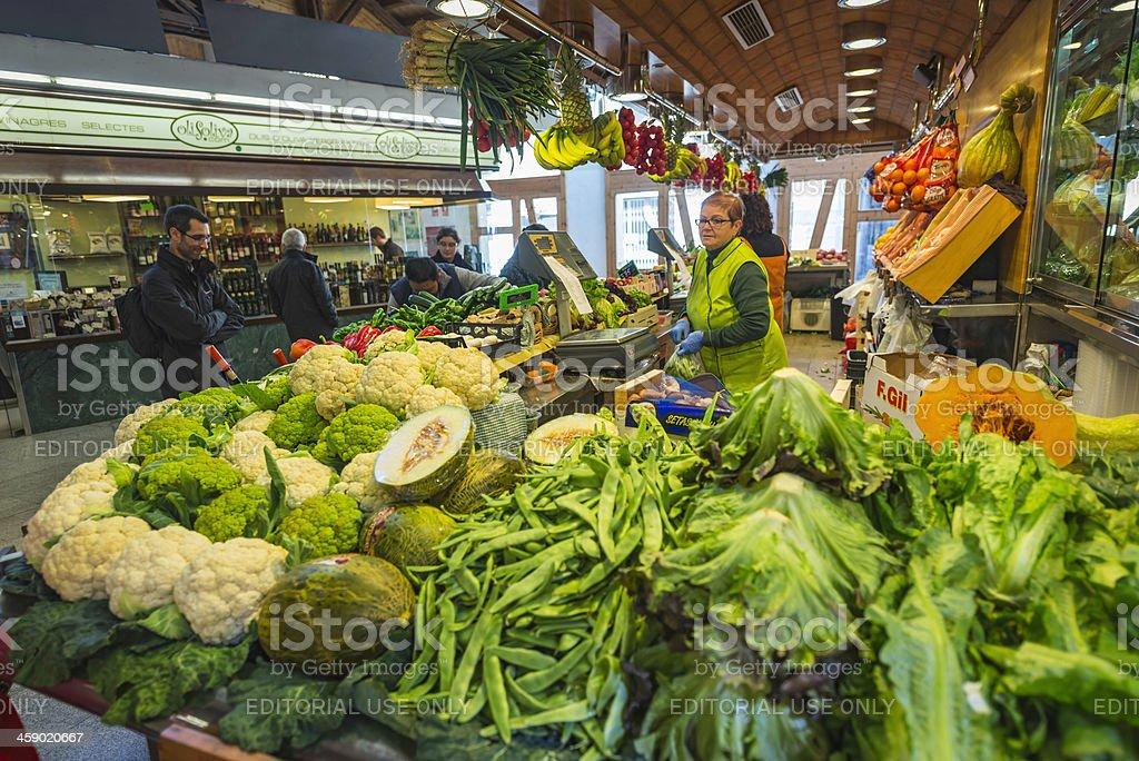 Healthy green vegetables in market La Boqueria Barcelona Spain stock photo