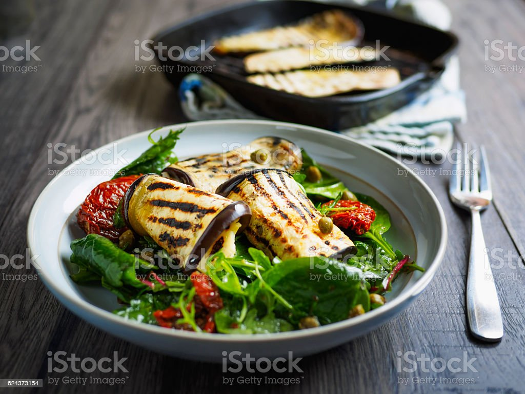 Healthy grilled aubergine salad stock photo