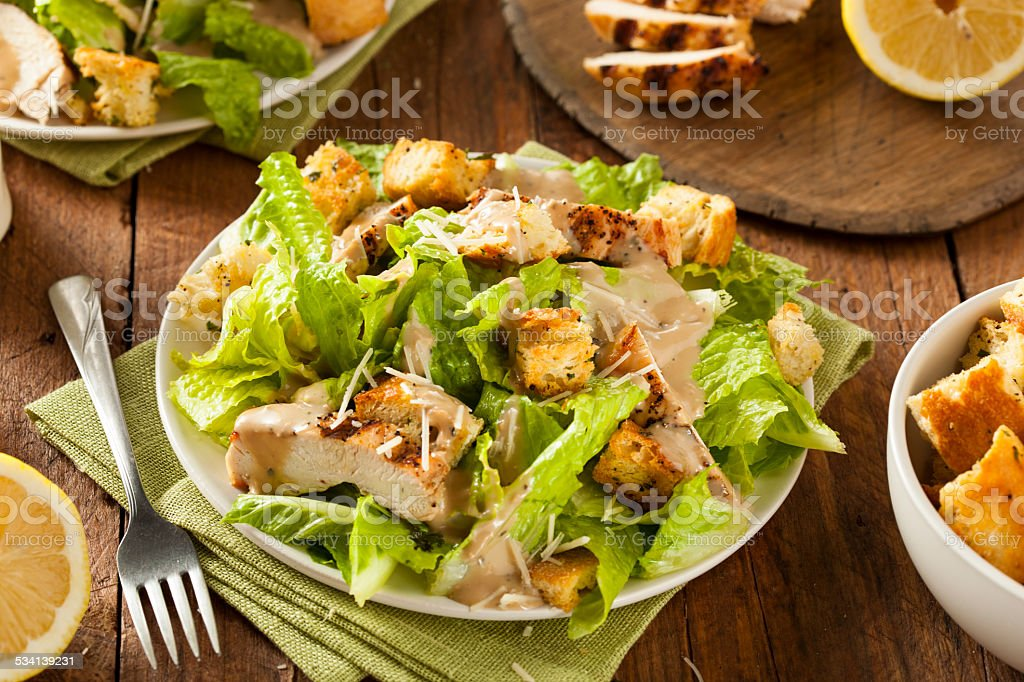 Healthy Grilled Chicken Caesar Salad stock photo