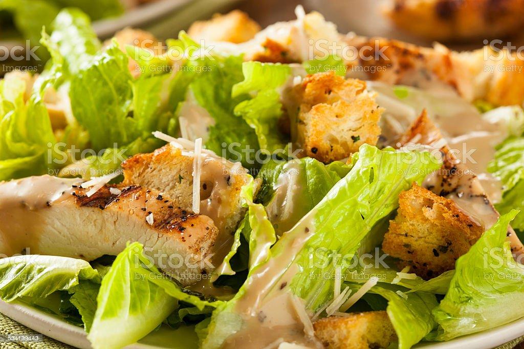 Healthy Grilled Chicken Caesar Salad stock photo