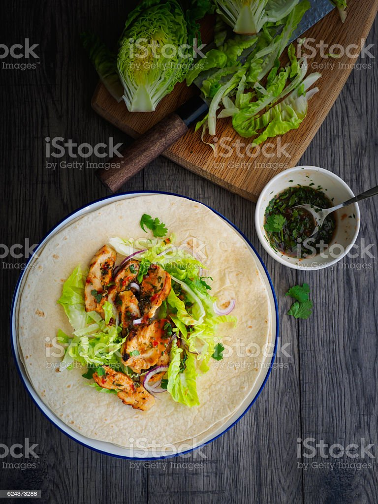 healthy grilled chicken wrap stock photo