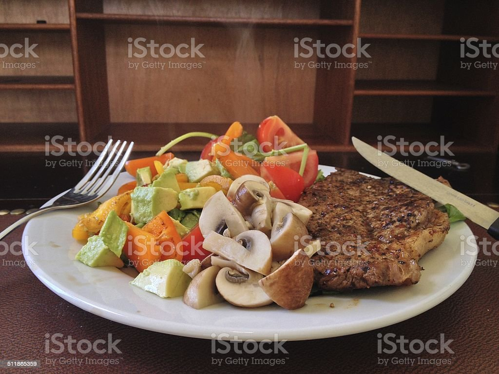 Healthy grilled meat meal, stock photo