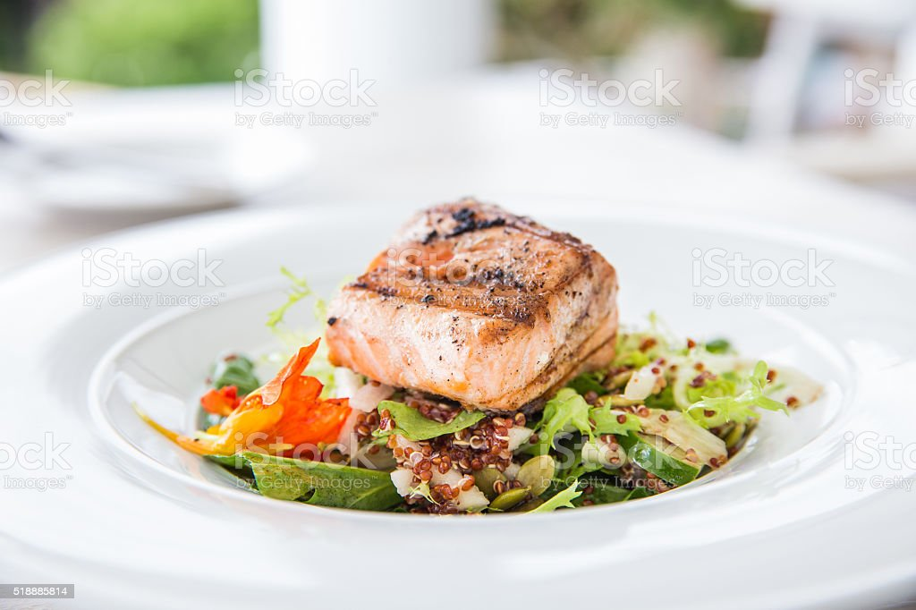 Healthy grilled salmon fish and vegetables stock photo