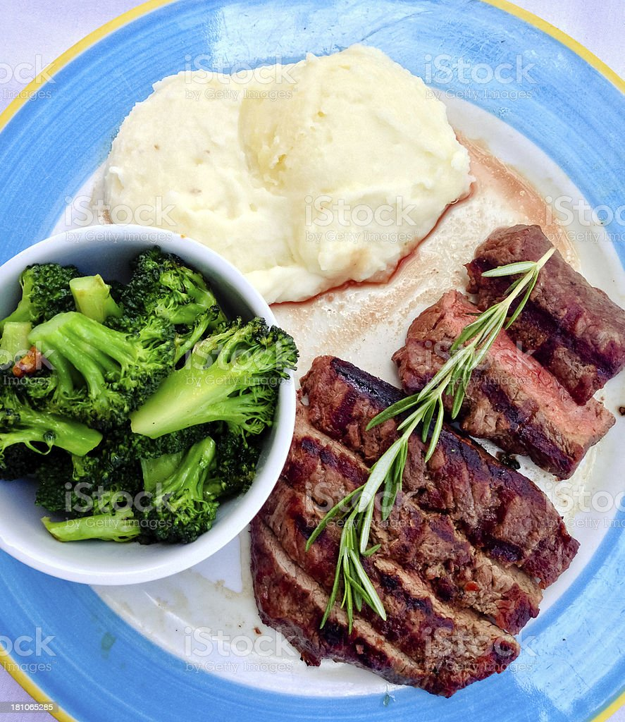 Healthy Grilled steak with broccoli and mashed potato royalty-free stock photo