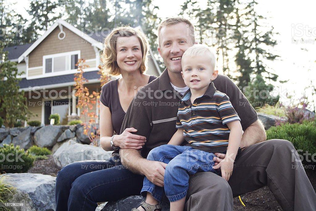 Healthy Happy Family of three royalty-free stock photo