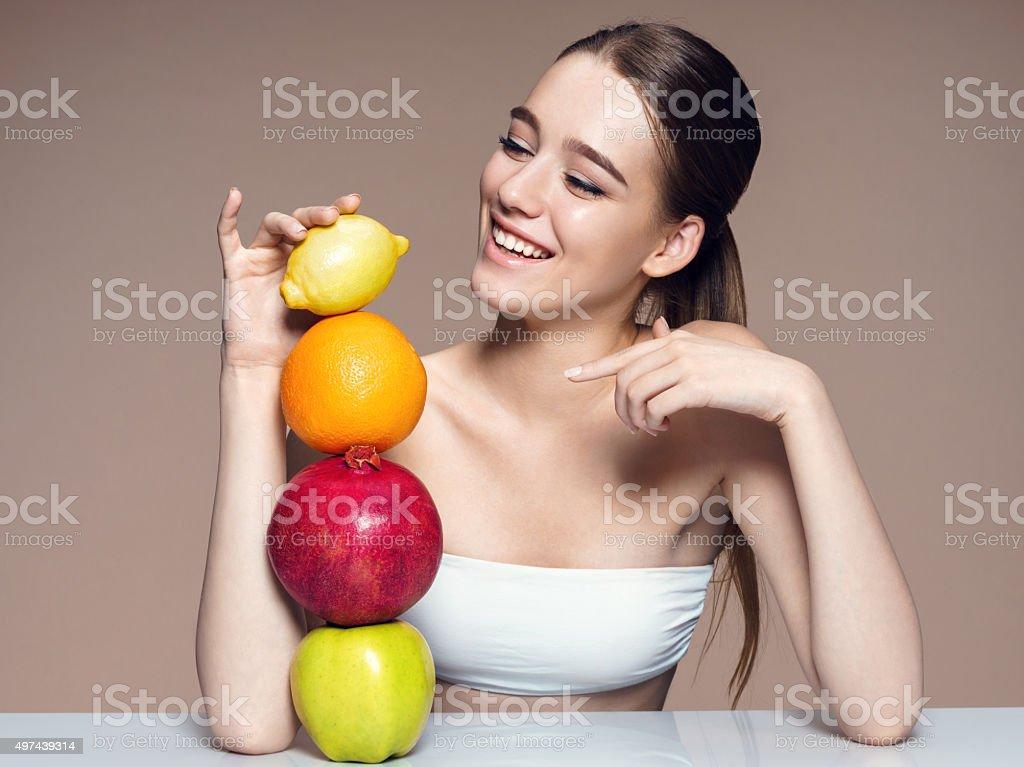 Healthy & Happy, natural organic raw fresh mix fruits concept stock photo