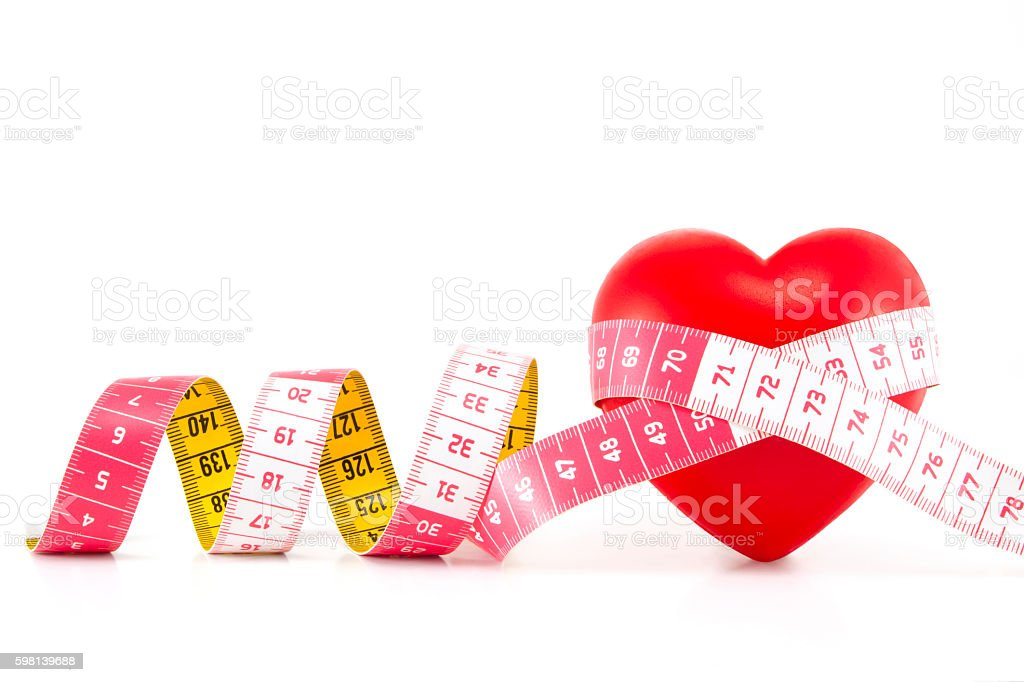 Healthy Heart Concept with Tape Measure stock photo