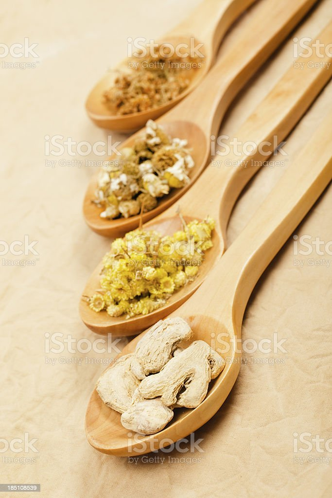 Healthy herbs background stock photo