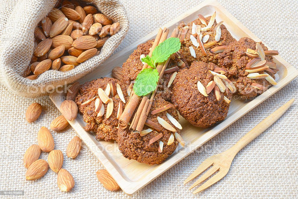 Healthy homemade almond cookies without butter and flour, stock photo