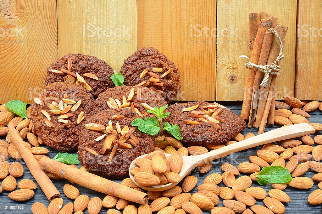 Healthy homemade almond cookies without butter and flour stock photo