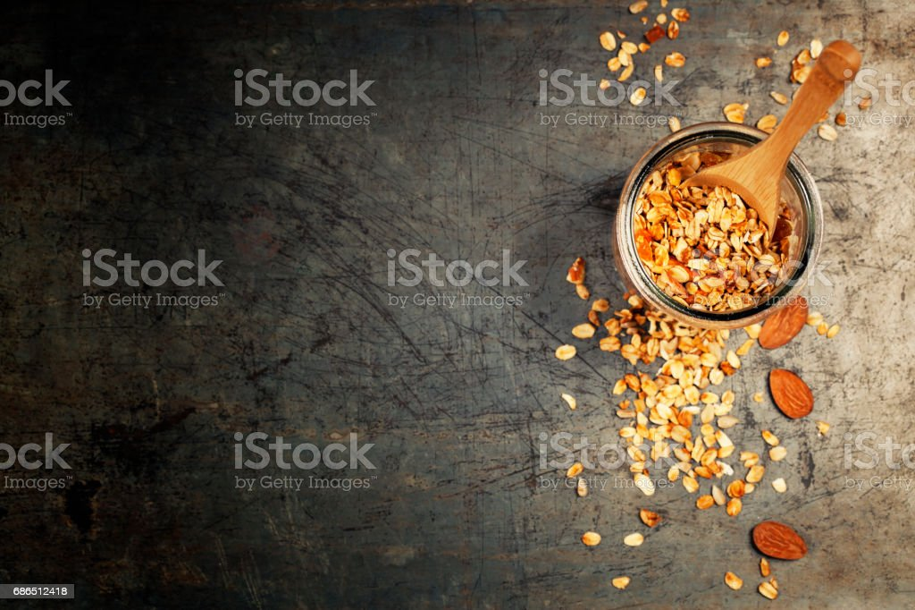 Healthy homemade granola with nuts and dried fruits. Granola stock photo
