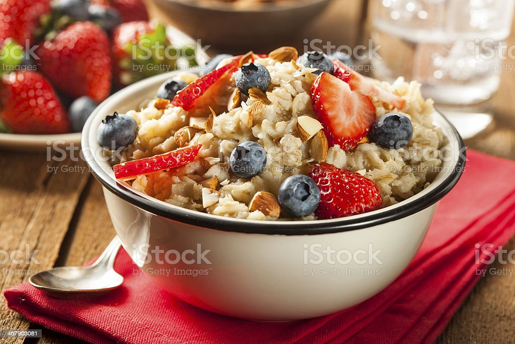 Healthy Homemade Oatmeal with Berries stock photo