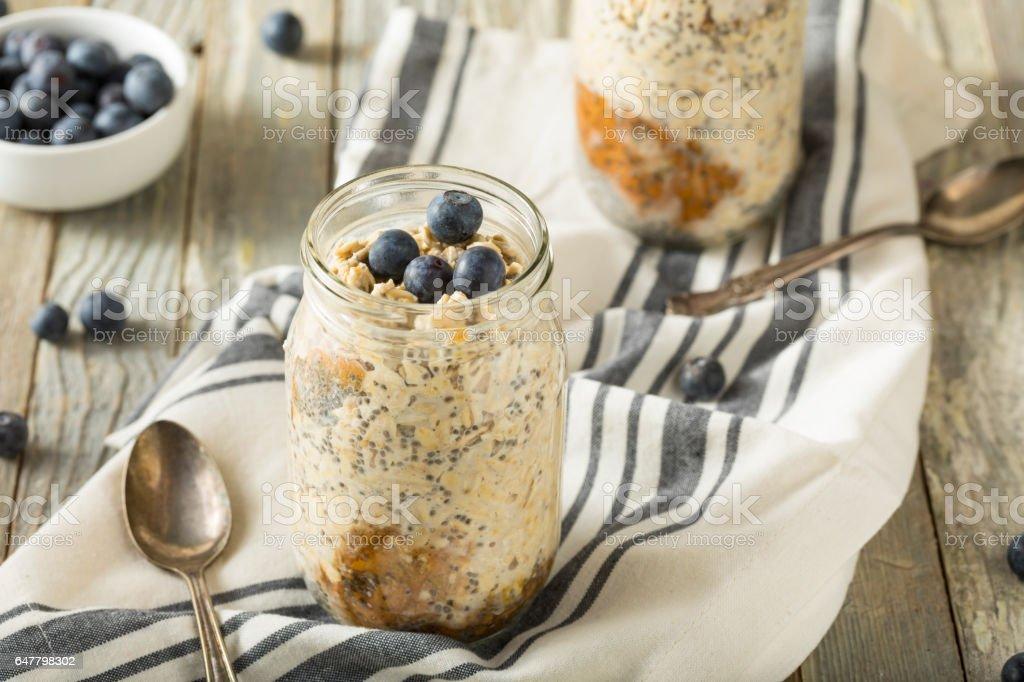 Healthy Homemade Overnight Oats Oatmeal stock photo