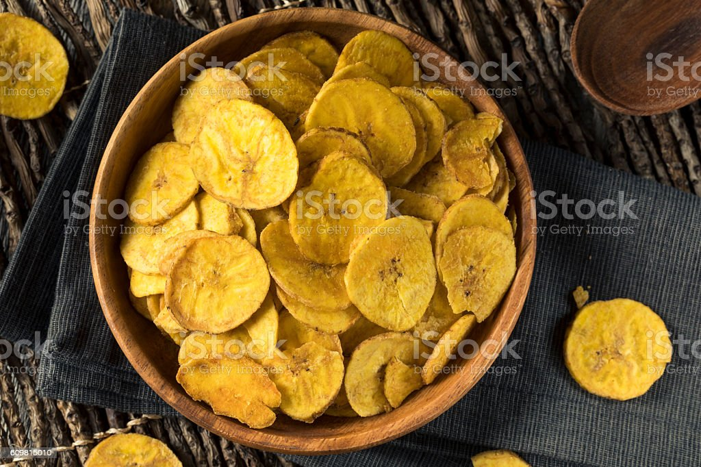 Healthy Homemade Plantain Chips stock photo