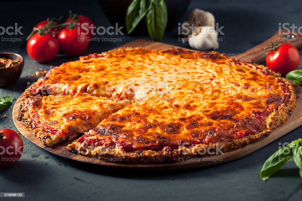 Healthy Homemade Quinoa Crust Cheese Pizza stock photo