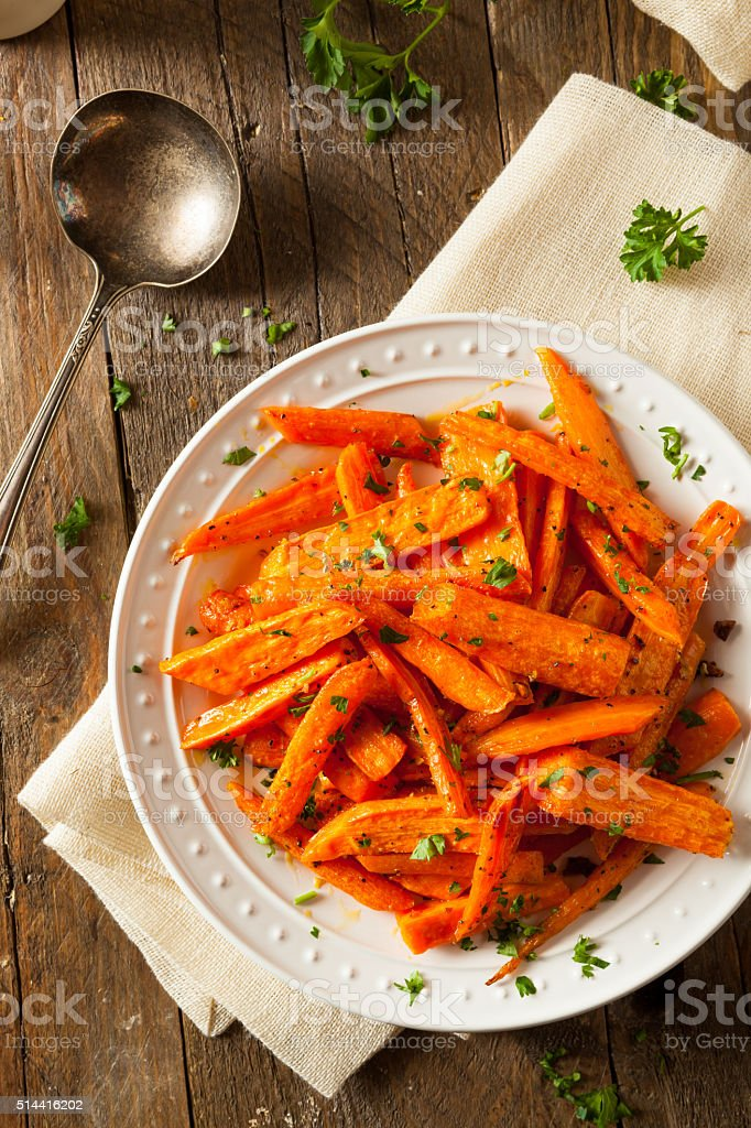 Healthy Homemade Roasted Carrots stock photo