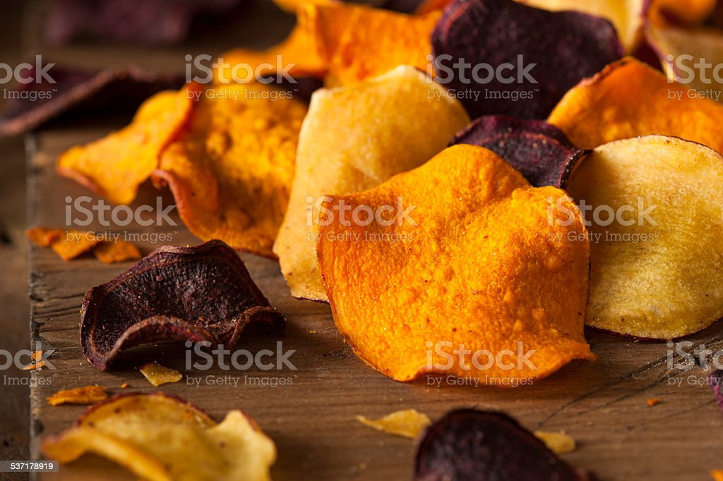 Healthy Homemade Vegetable Chips stock photo