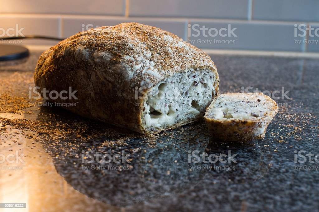 Healthy homemade whole grain cheese bread stock photo