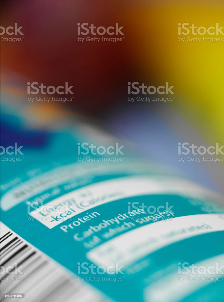 Healthy Information on a Nutrition Label stock photo