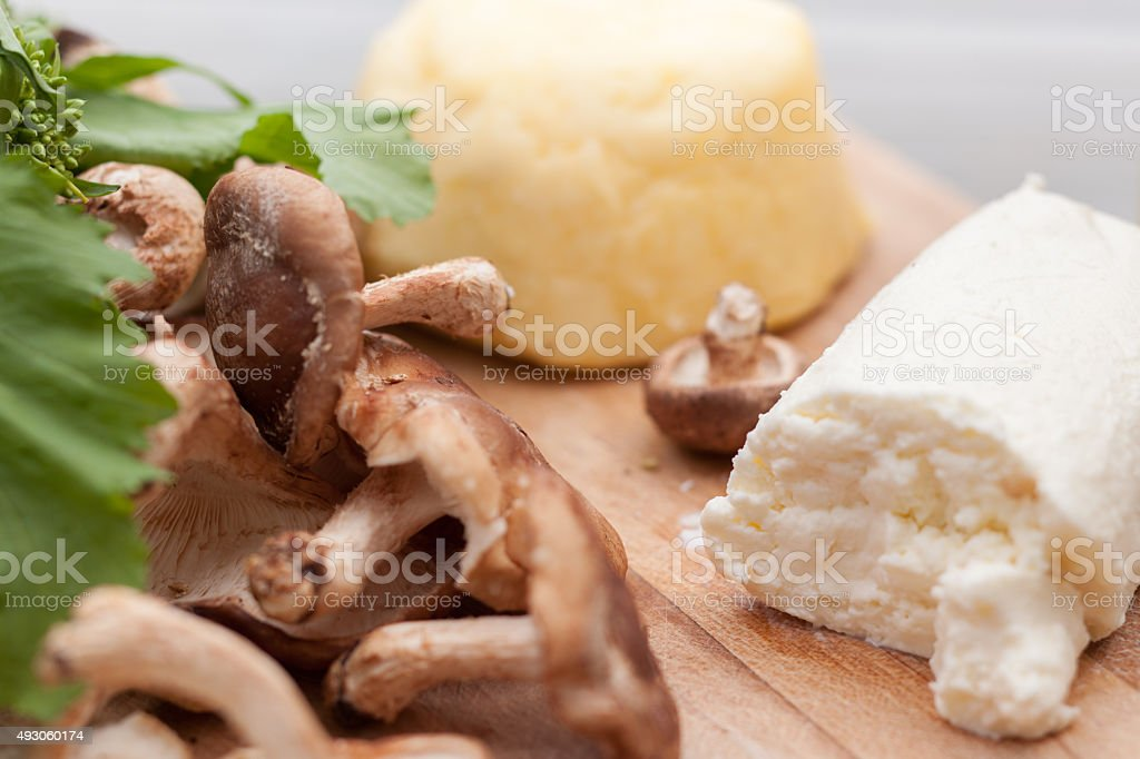 Healthy ingredients for flatbread pizza stock photo