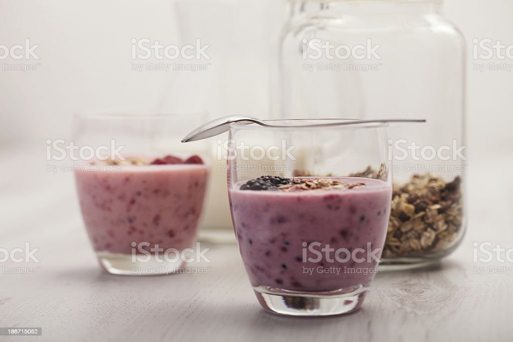 Healthy juices with milk and cereals royalty-free stock photo