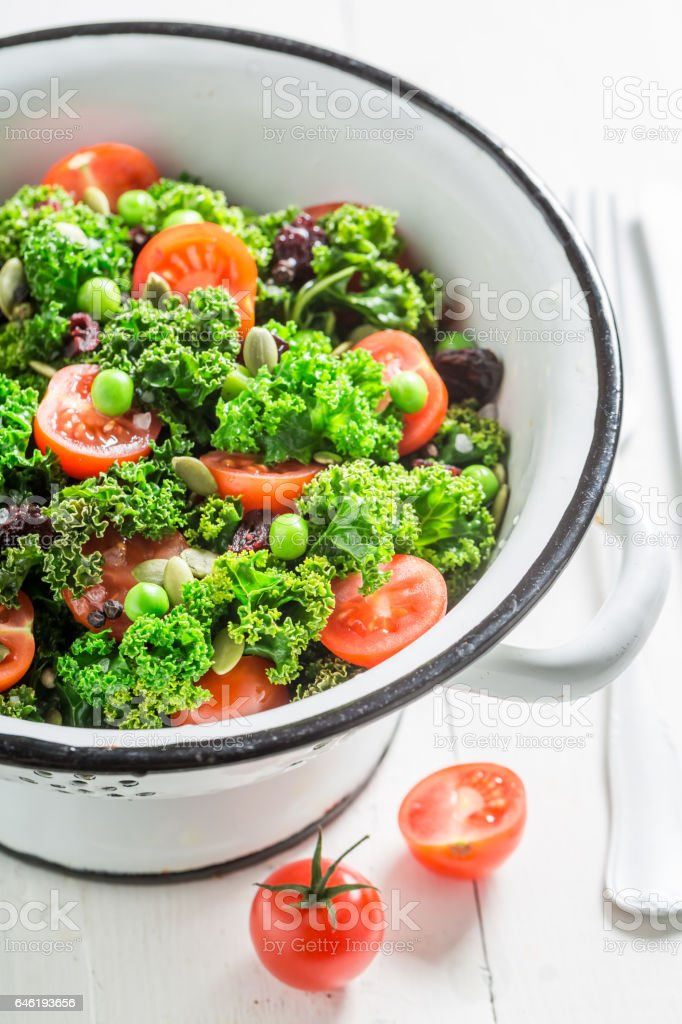 Healthy kale salad full of vitamin and minerals stock photo