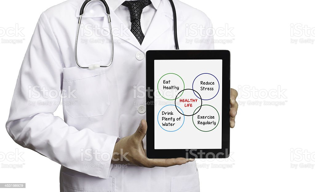 Healthy Life Concept on a Tablet PC Screen stock photo