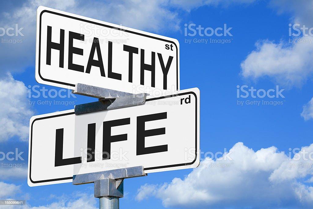 Healthy Life Street Sign royalty-free stock photo