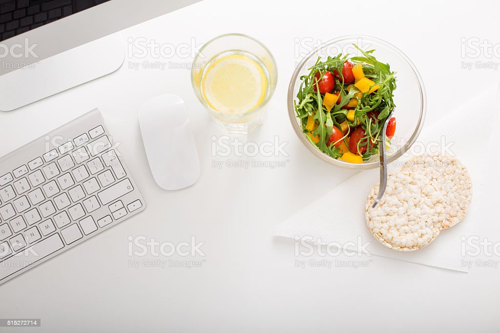 Healthy lifestyle at office stock photo