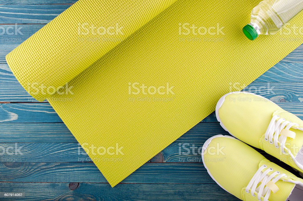 Healthy lifestyle background. Sport equipment stock photo