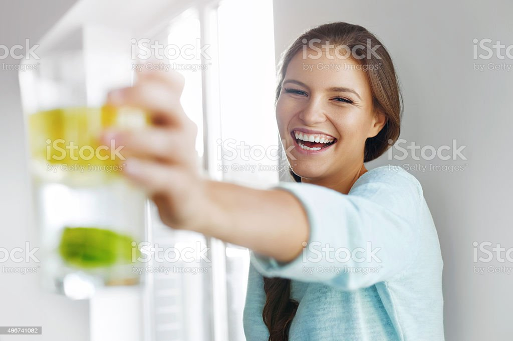 Healthy Lifestyle Concept, Diet And Fitness. Woman Drinking Water stock photo