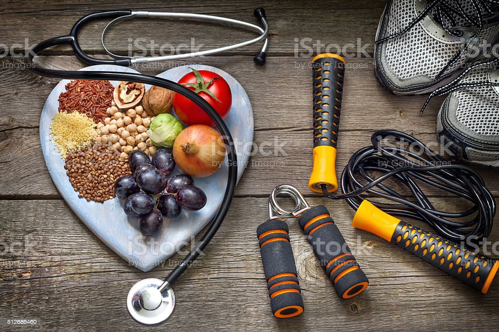 Healthy lifestyle concept with diet and fitness stock photo