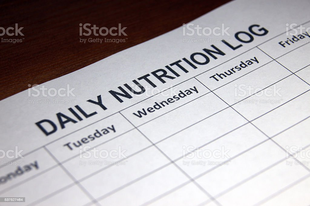 Healthy Lifestyle Daily Nutrition Log stock photo