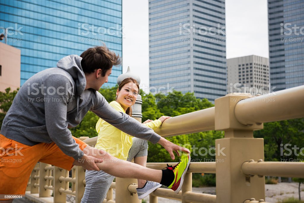 Healthy Lifestyle in an urban setting stock photo