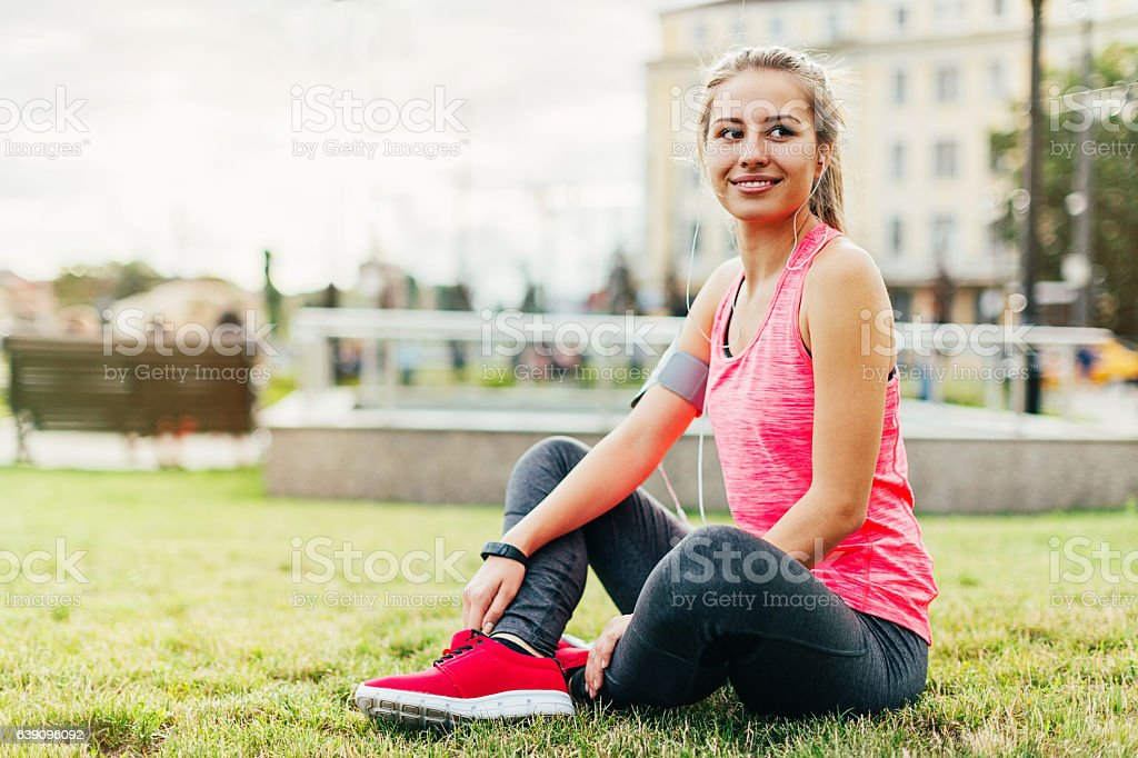 Healthy lifestyle in the city stock photo