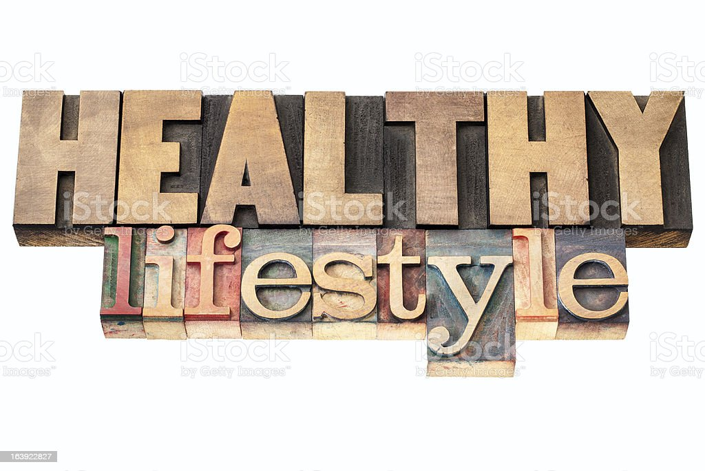 healthy lifestyle in wood type royalty-free stock photo