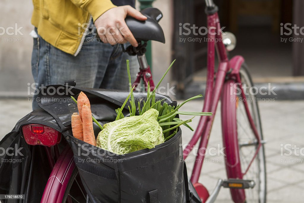 Healthy lifestyle. Vegetables on a hipster bike stock photo