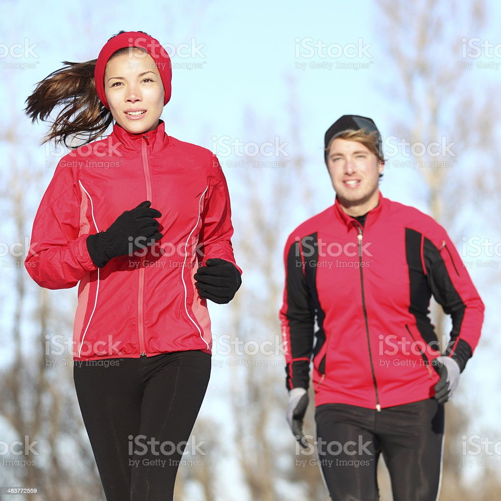 Healthy lifestyle winter running stock photo